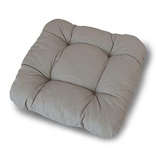 LILENO HOME 6er Set Stuhlkissen Hellgrau (38x38x8 cm) - Sitzkissen für Gartenstuhl, Küche oder Esszimmerstuhl - Bequeme UV-beständige Indoor u. Outdoor Stuhlauflage als Stuhl Kissen