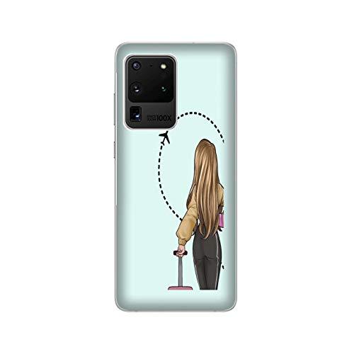 Funda Carcasa Compatible con Samsung Galaxy S20 Pareja Enamorados Novio Novia Amor Maleta de Viaje de Medio corazón/TPU Suave Gel de Silicona/Teléfono Hard Snap en Antideslizante Anti-Rayado R