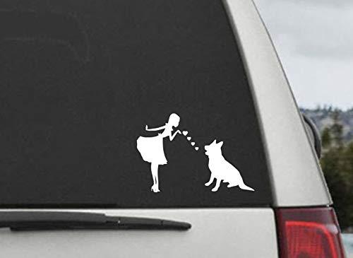 Pinup meisje met duits herder hond decal- duits herder Moeder blazen kussen sticker - auto raam sticker