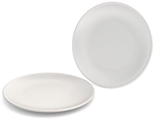 Ornamin Teller flach Ø 23 cm weiß 2-er Set Melamin (Modell 414) / Kunststoff-Essteller, Frühstücksteller