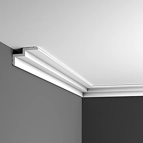 Orac Decor - C390 Steps Corniche Plafond pour éclairage indirect et Cache Tringle à Rideaux 6x10x200cm (h x p x L) - moulure décorative polyuréthane