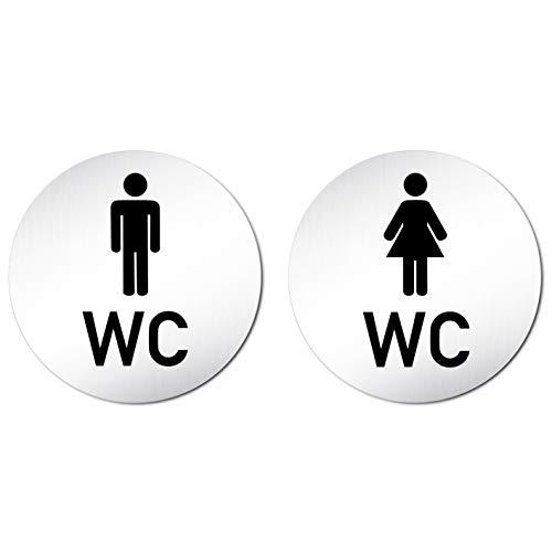 Kinekt3d Leitsysteme XXL WC Toilettenschilder Set aus eloxiertem Aluminium Ø100mm • Türschild Klo Schild • Damen + Herren/Mann + Frau • 100% Made in Germany!