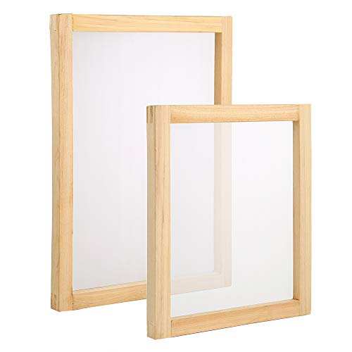 Pllieay 2pz cornici per serigrafia in legno, 25,4 x 35,6 cm, 20,3 x 25,4 cm, con 110 maglie bianche per serigrafia