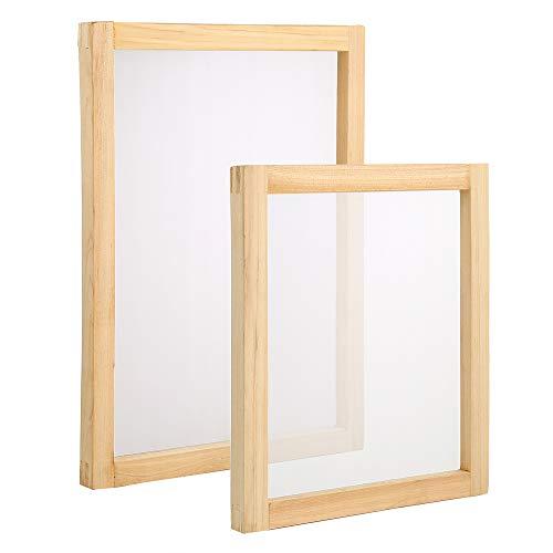 Pllieay 2 marcos de madera de seda para serigrafía, 25,4 x 35,5 cm, 20,3 x 25,4 cm con malla blanca 110 para serigrafía.