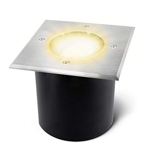 SSC-LUXon JADINA - Faretto da incasso a pavimento, piatto, orientabile, con modulo LED quadruppi, 5 W, luce bianca calda, 230 V, per esterni, IP67, rettangolare