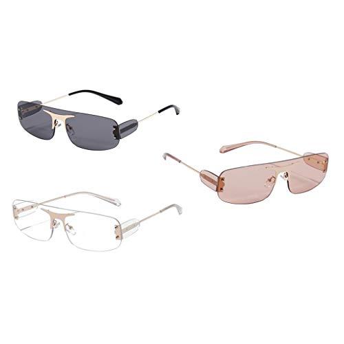 Colcolo Paquete de 3 Gafas de Sol de Moda con Corte Rectangular, Lentes Clásicas con Lentes Tintadas, Protección UV