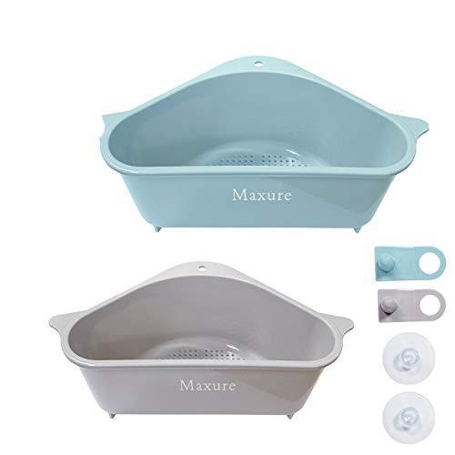 Maxure Soporte de Almacenamiento de Fregadero Triangular Paquete de 2 estantes de Drenaje con Ventosa Fregadero de Cocina Esquina Colgante Cesta Estante Cesta de Fregadero para Cocina Baño