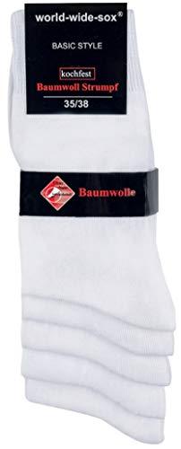 """socksPur 5er- PACK WORLD-WIDE-SOX DAMENSTRUMPF """"WEISS"""" – GLATT (35-38, weiß)"""