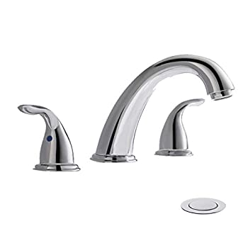 Chrome Widespread Bathroom Sink Faucet 8 Inch 3 Pieces 2 Handles High-Arc with Full-Copper Pop Up Drain and Valve by PHIESTINA WF008-5-C
