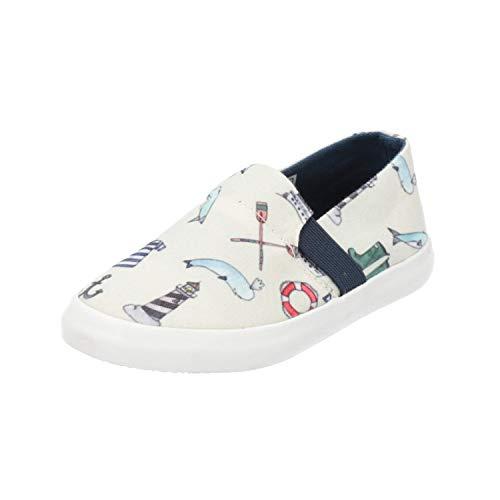 Stups 117-BJY-02 White Print Kinder Jungen Sneaker Weiß Turn-Schuhe, Größe:EUR 27