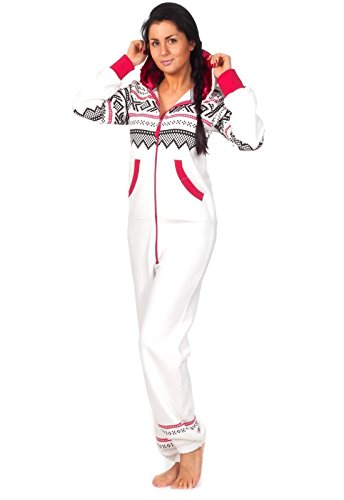 Loomiloo® Jumpsuit Onesie Overall - VIELE Farben - als Freizeitanzug Overall Hausanzug Einteiler Strampler Trainingsanzug Pyjama mit Norweger Muster für Damen und Herren (S/M, Weiß)