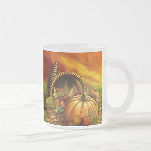 N\A Taza de café de acción de Gracias, Taza de café de Vidrio Esmerilado de Campo de Calabaza de Cornucopia de acción de Gracias, Taza de café de Oficina de otoño Novedad 11 oz