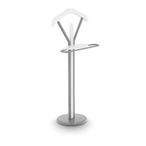 Uniprodo Galán De Noche Perchero para Dormitorio Uni_Stand_02 (Material De Montaje Incluido, Fabricado En Acero Recubierto De Polvo, Plateado y Blanco)