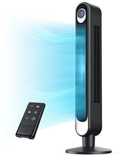 SUGOAL 42' Tower Fan with 6 Speeds, Electric Oscillating 90°. 3 Modes. 12-Hour Timer. Quiet. Remote Control. LED Display. Black Standing Indoor...