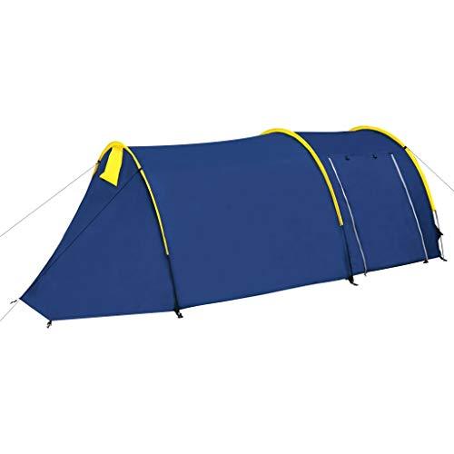 vidaXL Tienda de campaña de Familia de campaña de cúpula Dome–Tienda campaña 4Personas Color Azul Marino