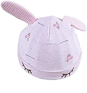 Baby Decoration Hat Cute Baby Ear Packable Soft Fetal Cap Infant Warm Hedging Cap Newborn Hat for 0-3 Months(Pink) Cute Cap (Color : Pink, Size : Head Circumference)