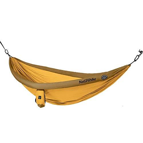GCX Sólido Espesamiento Exterior Hamaca for Acampar Cama De Árbol Hamaca Inflable Antivuelco for Niños Cuna En Casa Relajarse (Color : Yellow, Size : One Size)