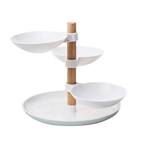 Estilo minimalista europeo Cuatro capas Fruta Caramelo Bandeja Sala de estar Desktop Food Storage Basket Home Tiered Accesorio (Color : White)