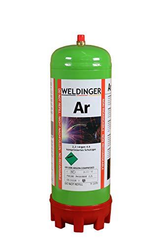 110 bar Argon 4.6 Schutzgas-Einwegflasche 2 Liter (220 Liter Schweißgas für WIG und MIG-Schweißen)