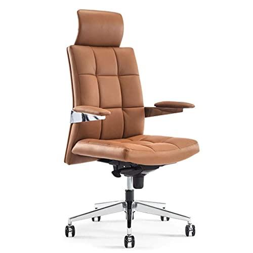 N&O Renovation House Bürostühle Ergonomischer Drehstuhl Bürostuhl Heimcomputerstuhl Bürostuhl aus Leder Bürostuhl Arbeitsstuhl Chefbürostuhl Schreibtischstühle (Color : Hellbraun)