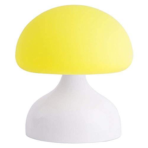 L.W.S Lámpara de Escritorio Lámpara Linda Simple lámpara de Mesa lámpara lámpara de Mesa de champiñones led luz luz de Silicona Gancho portátil Sala de Estar de la Cama decoración Regalo Amarillo