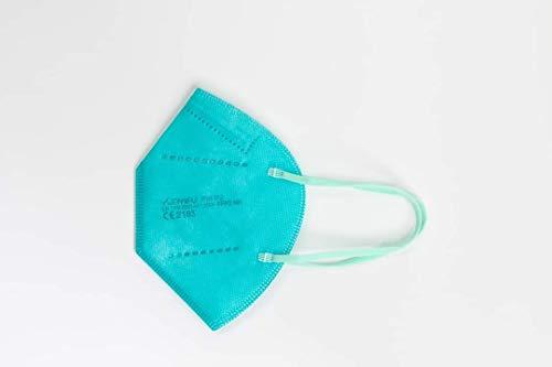 YUNYIFU FFP2 Maske türkis   Mundschutz Maske FFP2   ISO + CE zertifiziert   Atmungsaktiv   10 Stück einzeln verpackt (Türkis)