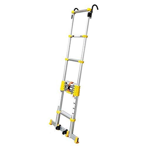 ERLAN Escalera Telescópica 2.6/3.8/4.6/5.8/6.6/7/ 8 M Más Alto Escaleras Telescópicas Plegables con Rueda Auxiliar, Escalera de Extensión Multiusos de Aluminio para Interiores Al Aire Libre