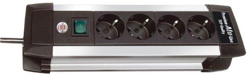 Brennenstuhl premium-alu-line multiprise avec interrupteur, 1391000010 noir 4-fach