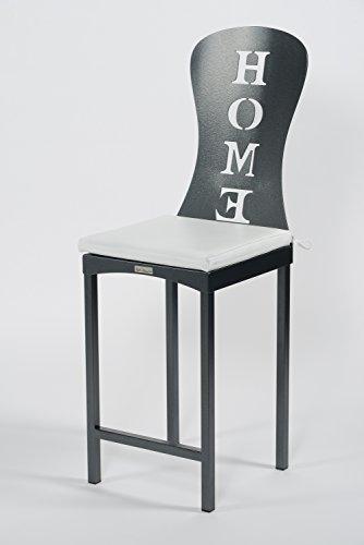 Styl'Métal 21 Lot 2 chaises Hautes Home métal Noir + Coussin Blanc