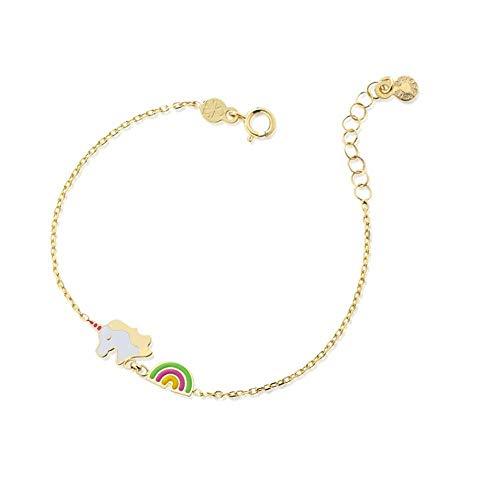 Pulsera Unicornio y arcoíris Le Bebè PMG073 oro amarillo 9 ct colección Primegioie