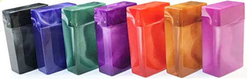 Shargio King Size Flip to Open Plastic Cases Marbled Multi Color Holders Box of 6