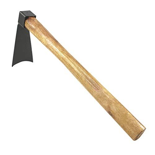 Cabilock Gartenhacke Stahl Hacke mit Stiel Kurze Handhacke mit Holzgriff Stahl Schneide Breitblatt Klassische Hacke Kronenhacke 36cm