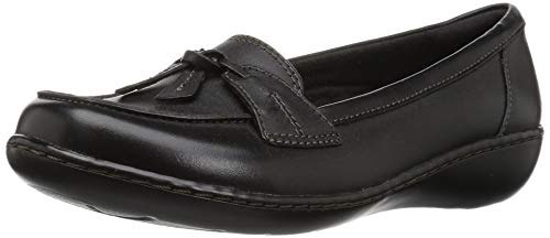 Clarks Women's Ashland Bubble Slip-On Loafer, Black, 9.5 W US