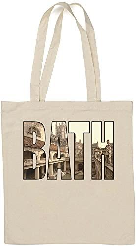 Bath City In England United Kingdom Architecture Graphic Bolso Tote de algodón Natural Blanco One Size