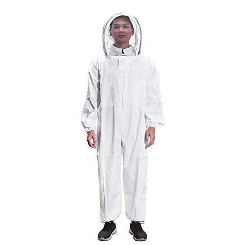 ONEVER Costume Apiculture, Veste Pliable Super Épaisse Pliable Blanc, Combinaison de Coton Apiculteur Bee Combinaison Smock (XXL)