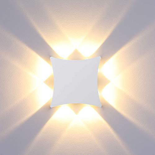 ENCOFT LED Wandleuchte Außen Innen Wandlampe 8W Wasserdicht IP65 Wandlicht Weiß Wandbeleuchtung für Bad Flur Kinderzimmer Treppenhaus Wohnzimmer Schlafzimmer Warmweiß