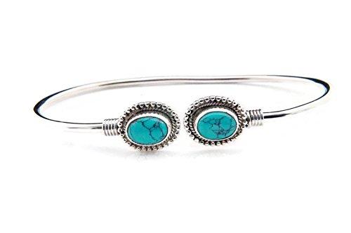 Türkis Armreif 925 Silber Sterlingsilber Armband Armspange blau grün (MAR 02-15)