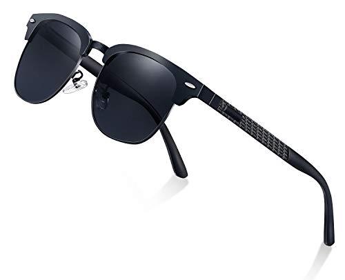 Perfectmiaoxuan Sonnenbrille herren damen Polarisiert Al-Mg Metall Rahmen Ultraleicht/Luxus Retro Sonne Brille Männlich/Draußen Sport Golf Radfahren Angeln Sonnenbrillen (black)