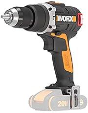 Worx WX373.9 Accu-slagboorschroevendraaier, borstelloze accuschroevendraaier, 20 V, 60 Nm, 2 versnellingen, ledlicht, om te schroeven, boren en klopboren, zonder accu en oplader