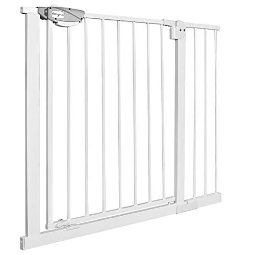 NAIZY Cancelletto di Sicurezza per Bambini Open N Stop per Bambini Cani Scale/a Pressione/Porte e Scale Interne - 95-105cm(Bianco)
