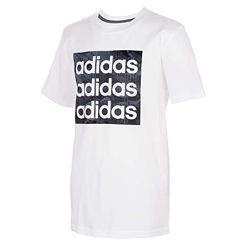 adidas Boys' Big Short Sleeve Cotton Jersey Logo T-Shirt Tee, Core Camo White, Medium