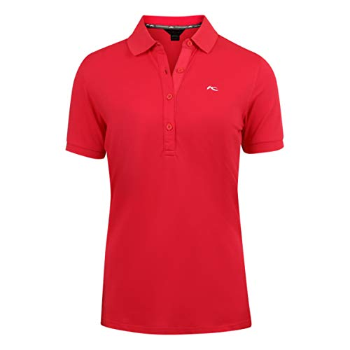Kjus Womens Technical Golf Polo Shirt Short Sleeve - Cotton Polyamide Blend Fabric and Sizes (Red, L)