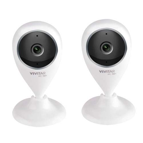 Vivitar IPC112G 720p Full HD Wide Angle View Wi-Fi Security Camera, White, 2-Pack