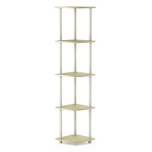 FURINNO Turn-N-Tube 5-Tier Corner Square Rack Display Shelf, Round, Cream Faux Marble/White