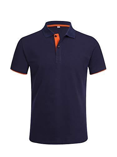 ポロシャツ 半袖 メンズ ゴルフウェア スポーツウェア 純色 吸汗速乾 カジュアル トップス ゴルフ ボタンダウン 無地 ストライプ お洒落 ネイビ×オレンジ L