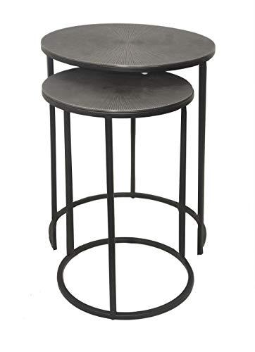 Aspect Hiba Round Nest Of 2, Sunburst Pattern Metal Table (Antique Silver/Black), 38 dia x 55(H) cm