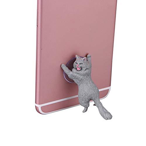 WanBeauty Soporte para teléfono celular, soporte para teléfono móvil, forma de gato, soporte de succión para decoración de escritorio, compatible con todos los teléfonos inteligentes, color gris