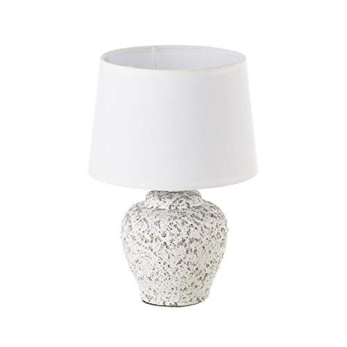 Lámpara de mesita de noche contemporánea de cerámica blancade 29x20x20 cm