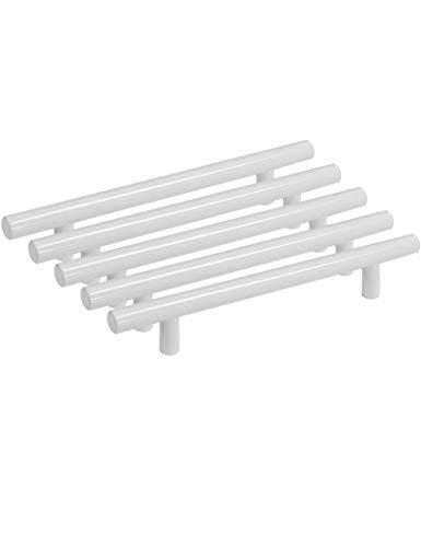PinLin 5 Stück Griffe Küche Lochabstand 128mm Möbelgriffe Edelstahl Weiß Küchenschrank Stangengriffe, Schrauben enthalten