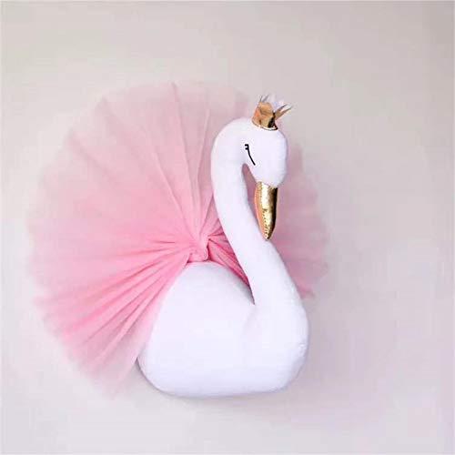 Adorno en 3D para colgar en la pared con forma de cabeza de cisne con corona dorada y vestido de gasa, ideal como regalo para la habitación de los niños y la sala de juegos